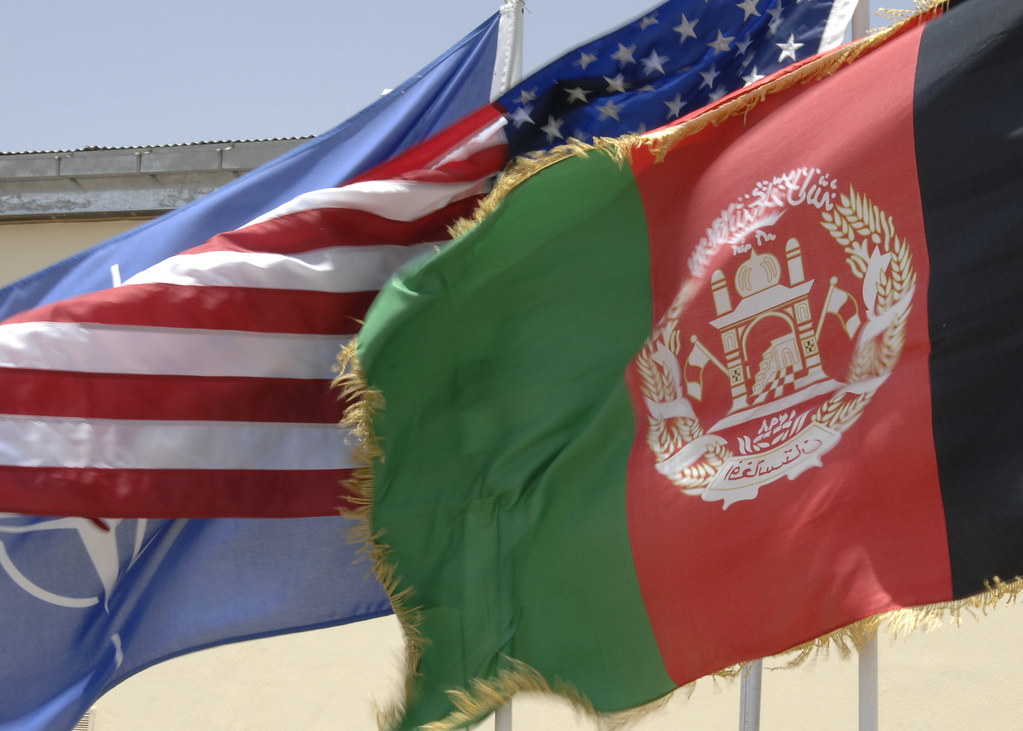 United States, Afghanistan and NATO Flags